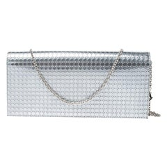 Dior Dior Metallic Silver Microcannage Patent Leather Croisiere Chain on Clutch