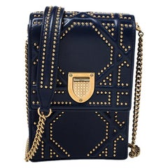 Dior Dior Navy Blue Leather Studded Diorama Vertical Chain Clutch