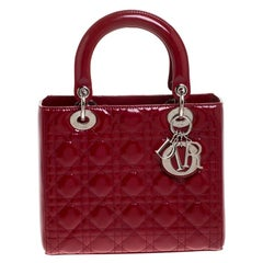 Dior Dior Red Patent Cannage Quilted Leather Medium Lady Dior Tote