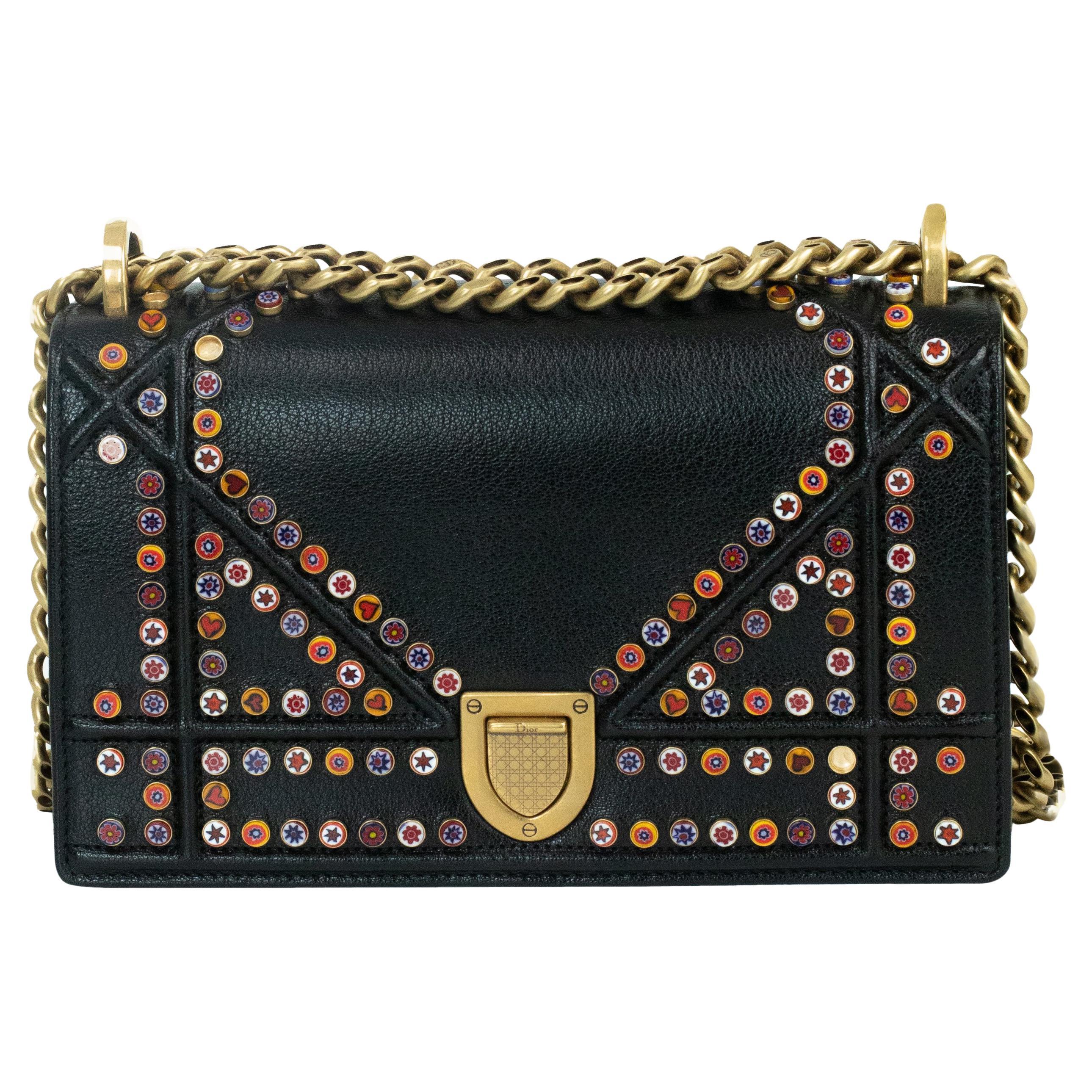 DIOR Diorama Shoulder bag in Black Leather