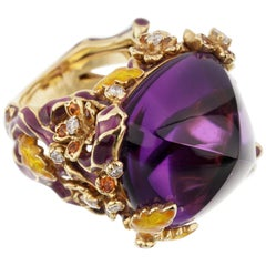 Dior Diorella 40 Carat Amethyst Diamond Sapphire Ring
