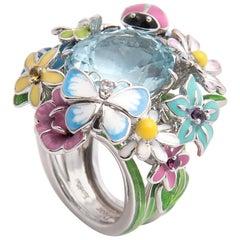 Dior 'Diorette' 18k White Gold, Lacquer and Aquamarine Flower Ring