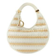 DIOR diorita white gold crescent wove 3D laser cut twist filter leather hobo bag