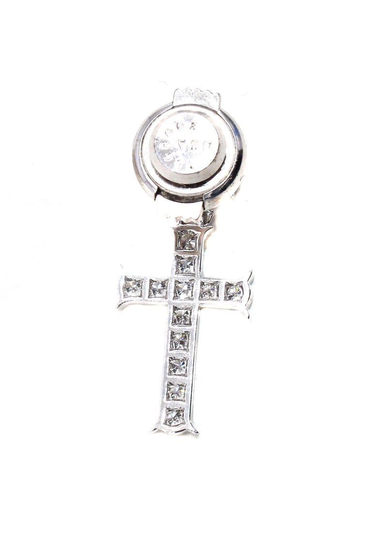 Dior Double Cross Diamond 18 Karat White Gold Lapel Pin-Pendant In Excellent Condition In New York, NY