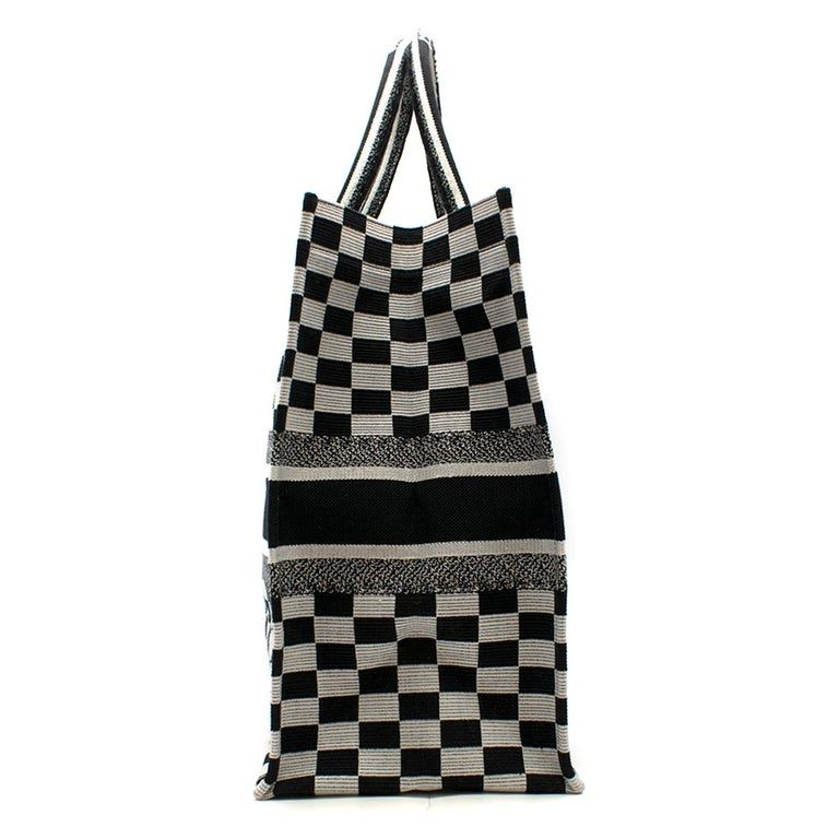 Dior Embroidered Canvas Book Tote Bag  - Black & white tote bag - Gingham check embroidered canvas - Lightweight - Front 'Christian Dior Paris' embroidered - Rolled top handles with 'Christian Dior' embroidered - Internal large compartment - This
