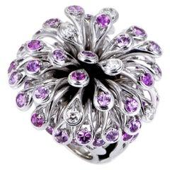 Dior Feu D'Artifice Pink Sapphire Diamond Gold Ring