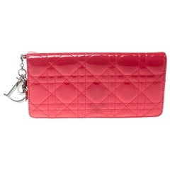 Dior Fuchsia Cannage Patent Leather Lady Dior Wallet