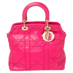 Dior Fuchsia Cannage Quilted Leather Granville Tote
