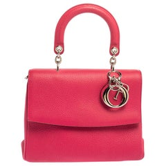 Dior Fuchsia Leather Small Be Dior Flap Top Handle Bag
