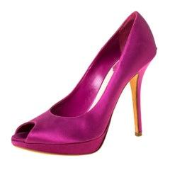 Dior Fuchsia Satin Peep Toe Platform Pump Size 38