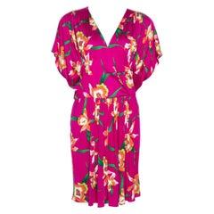 Dior Fuschia Floral Printed Silk Mini Dress L