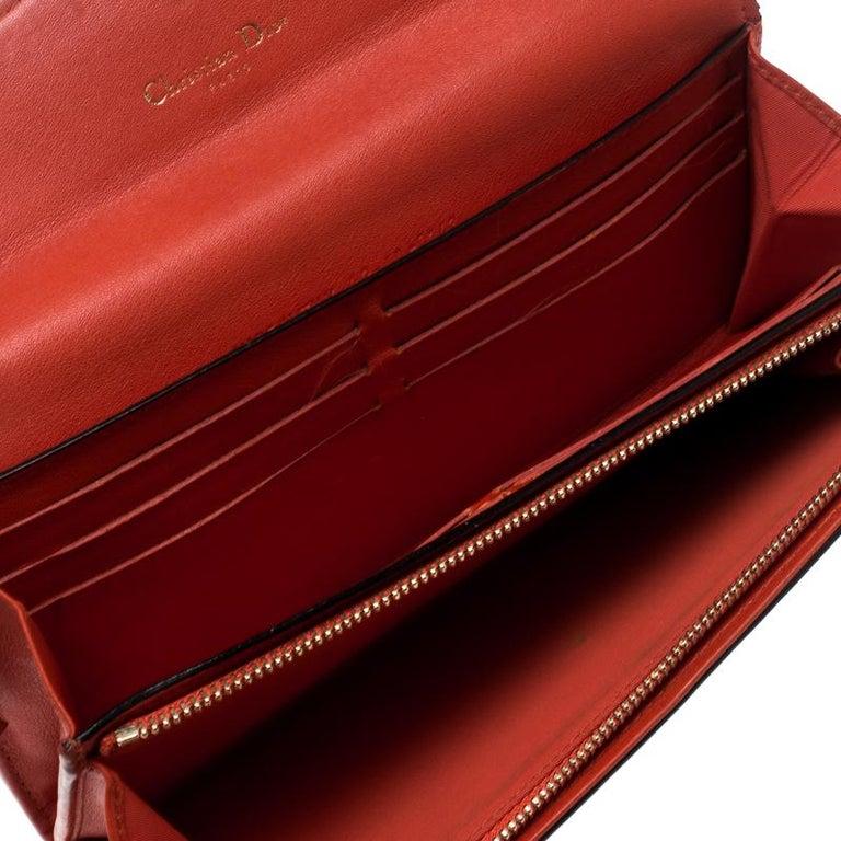 8799e2933fd Red Dior Fuschia/Orange Leather Diorissimo Continental Wallet For Sale