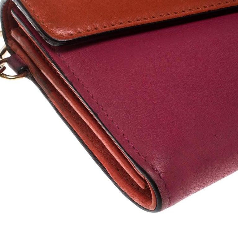 f69632b4851 Dior Fuschia/Orange Leather Diorissimo Continental Wallet For Sale 2