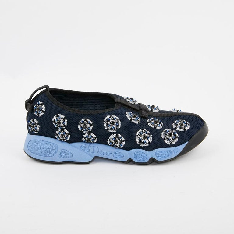 DIOR Fusion Sneakers By Raf Simmons in Dark Blue Canvas Size 38.5FR In Excellent Condition For Sale In Paris, FR