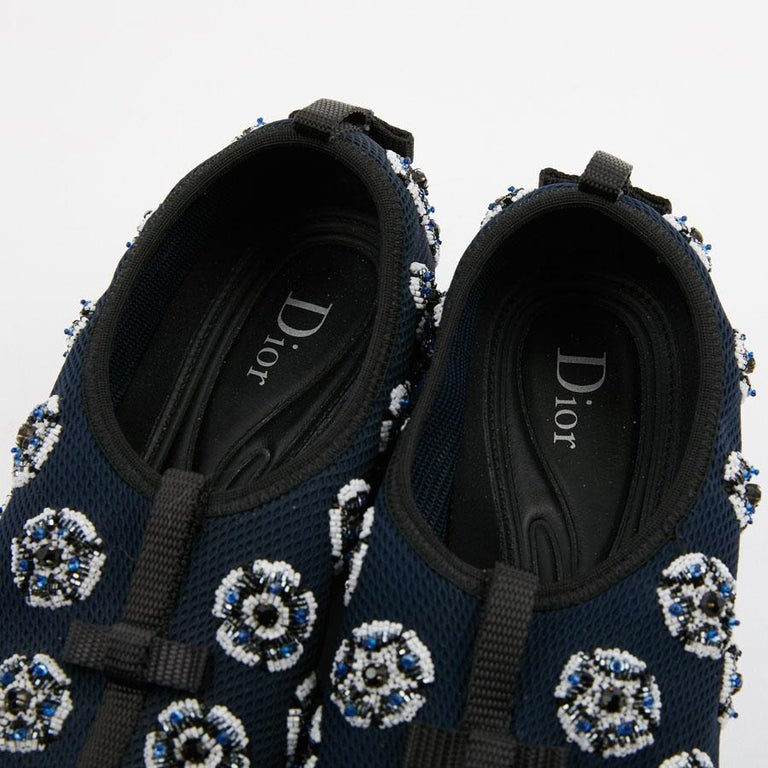 DIOR Fusion Sneakers By Raf Simmons in Dark Blue Canvas Size 38.5FR For Sale 1