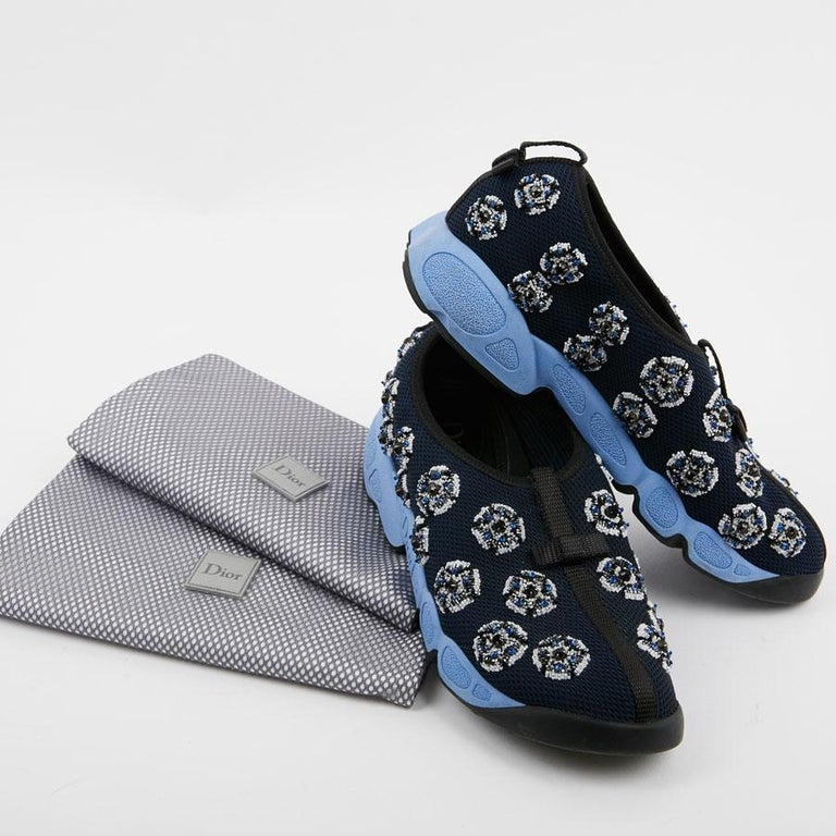 DIOR Fusion Sneakers By Raf Simmons in Dark Blue Canvas Size 38.5FR For Sale 2