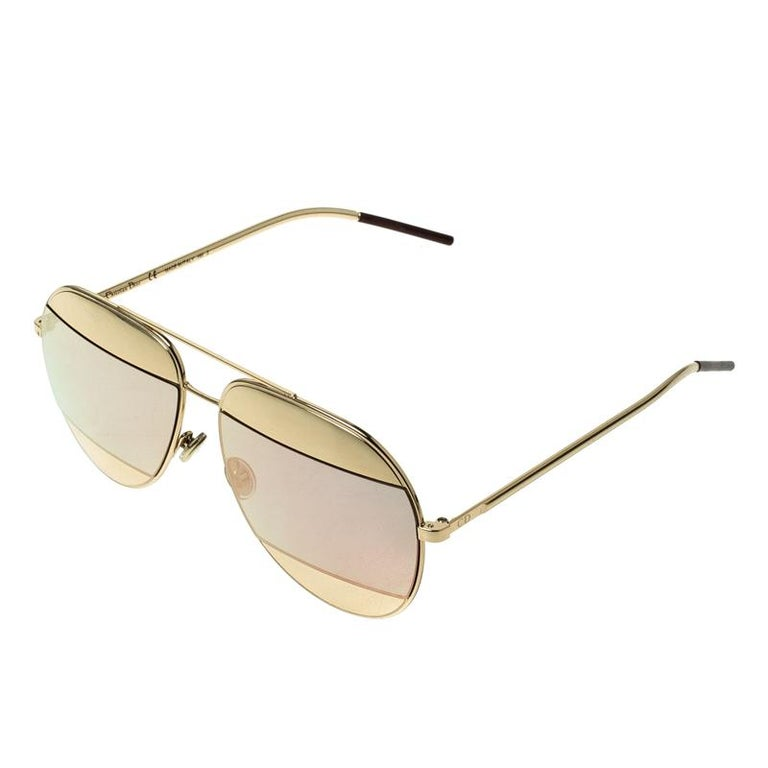 Women's Dior Gold/Black Pink Mirrored 0000J Split1 Aviator Sunglasses For Sale