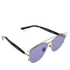 Dior Gold/Blue Technologic Aviator Sunglasses