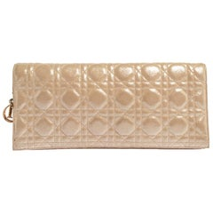 Dior Gold Cannage Iridescent Leather Foldover Clutch
