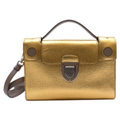 Dior Gold Leather Diorever Shoulder Bag