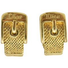 Dior Gold-Plated Buckle Earrings