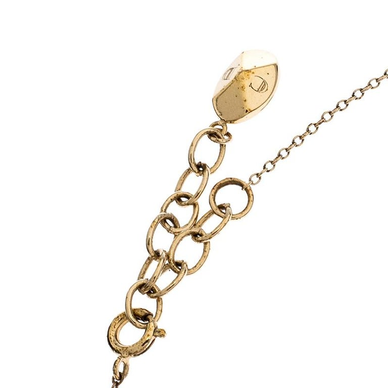 Contemporary Dior Gold Tone Stone Embellished Necklace For Sale