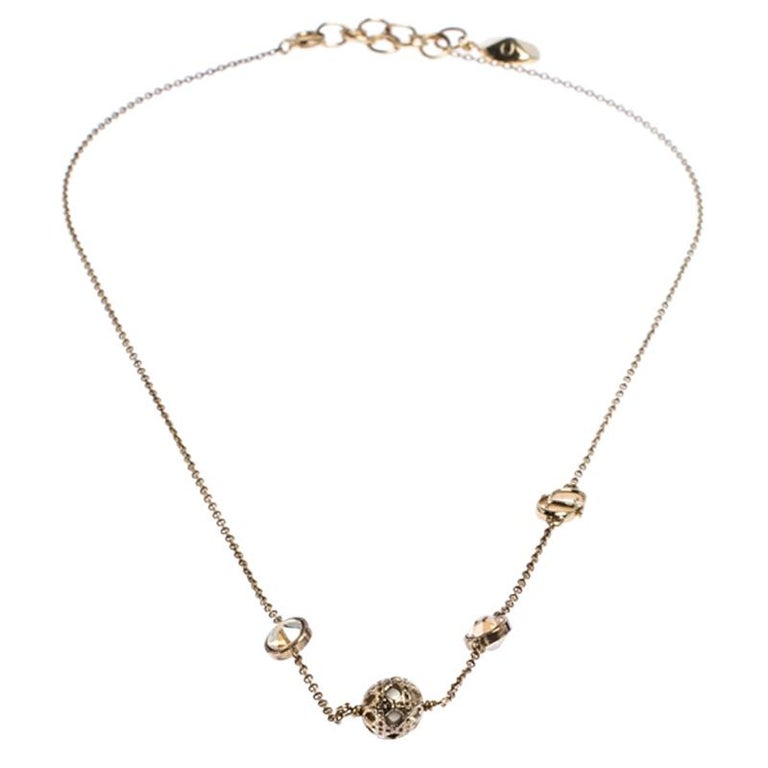 Dior Gold Tone Stone Embellished Necklace In Good Condition For Sale In Dubai, Al Qouz 2