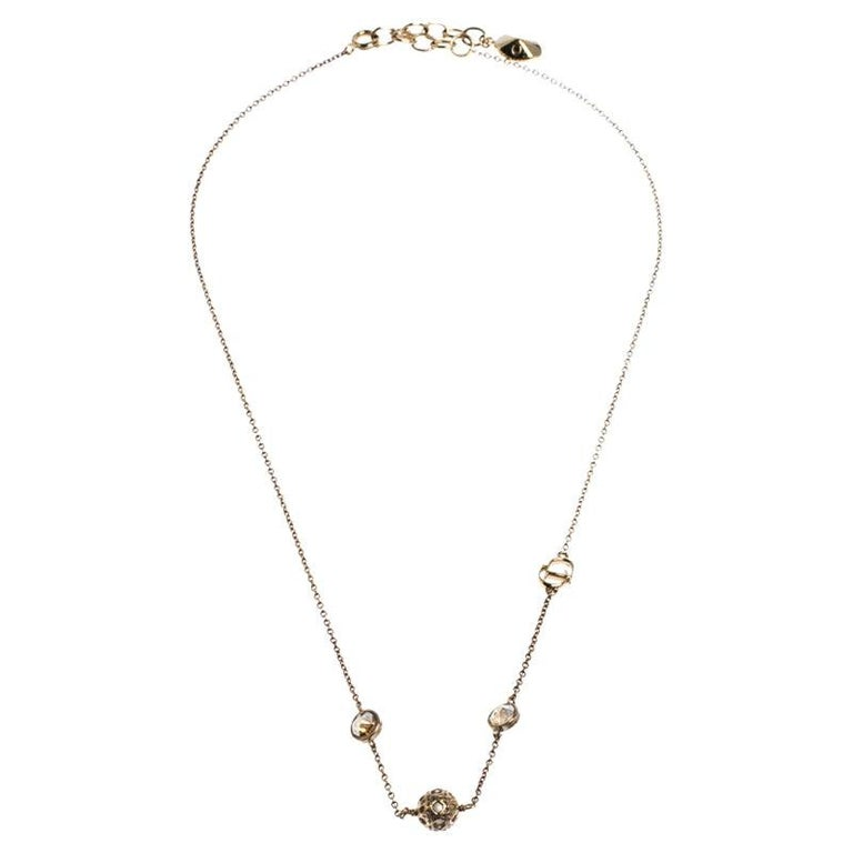 Dior Gold Tone Stone Embellished Necklace For Sale