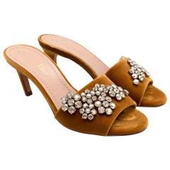 Dior Gold Velvet Crystal Embellished Kitten Heel Mules 36
