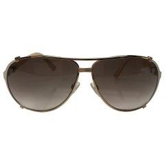 DIOR Gold & White aviator sunglasses w/ white legs & pink detail