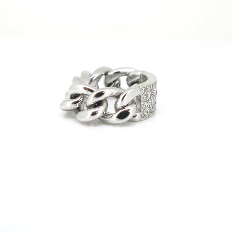 Modern Dior Gourmette Diamonds Pave White Gold Chain Link Ring Large Model For Sale