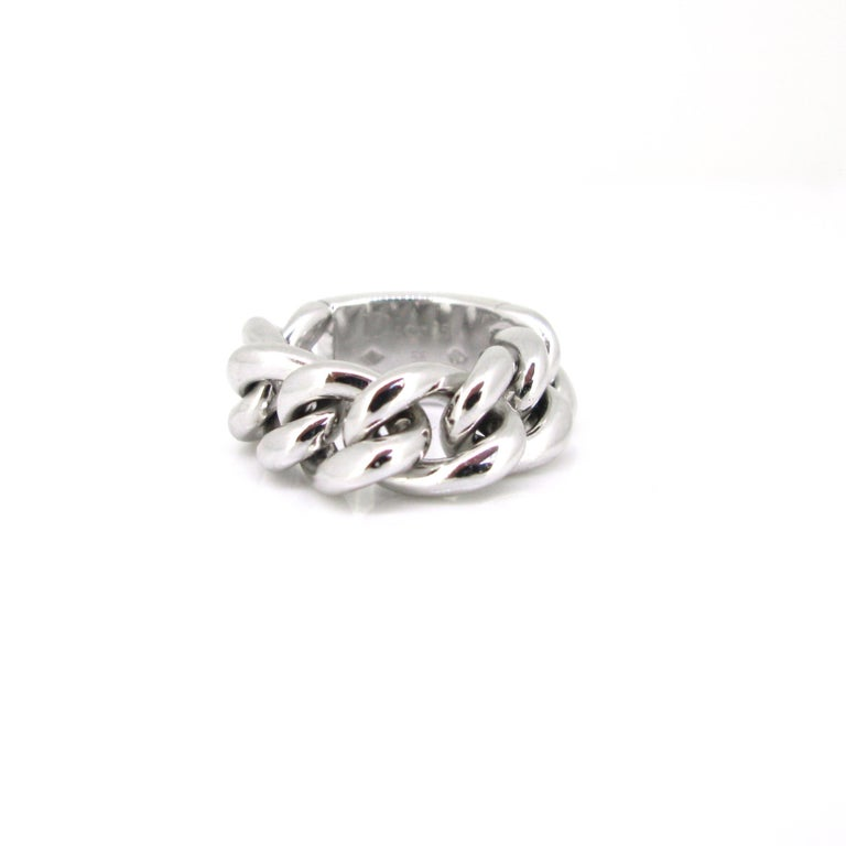 Dior Gourmette Diamonds Pave White Gold Chain Link Ring Large Model In Good Condition For Sale In London, GB