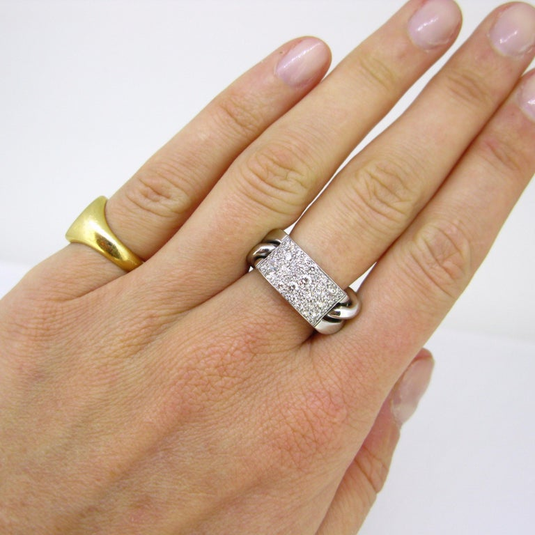 Dior Gourmette Diamonds Pave White Gold Chain Link Ring Large Model For Sale 2