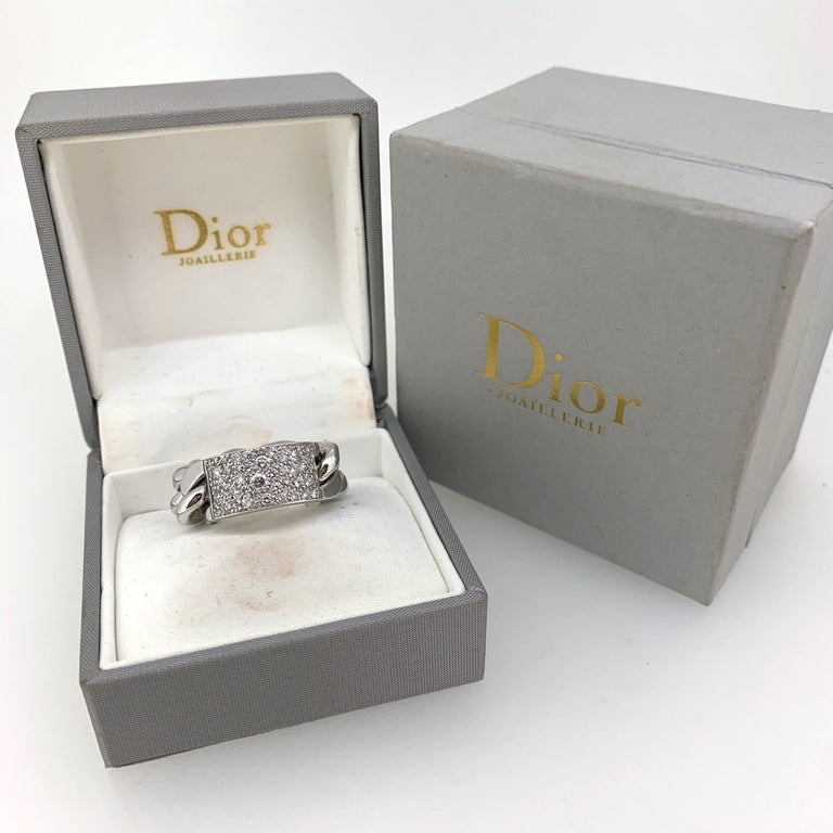 Dior Gourmette Diamonds Pave White Gold Chain Link Ring Large Model For Sale 3