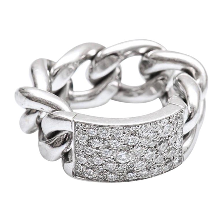 Dior Gourmette Diamonds Pave White Gold Chain Link Ring Large Model For Sale
