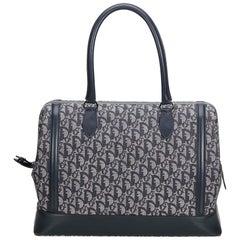 Dior Gray Light Gray Canvas Fabric Oblique Travel Bag France w/ Dust Bag