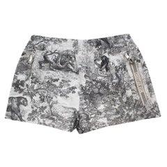Dior Gray Toile de Jouy Technical Taffeta Shorts 40
