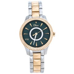 Dior Green 18K Rose Gold Diamond VIII Place Vendome Women's Wristwatch 32 mm