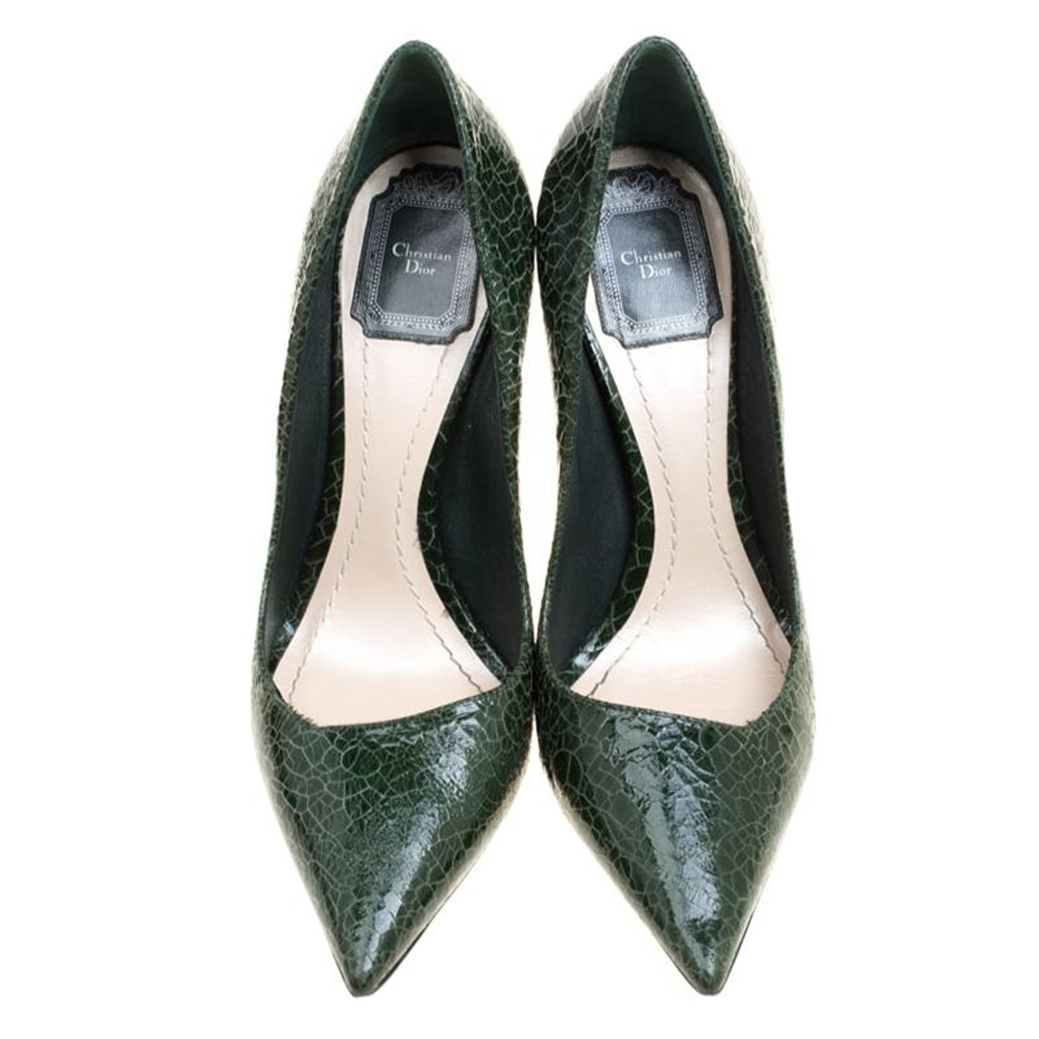 9a550f5668 Dior Green Crackled Leather Pointed Toe Pumps Size 38 For Sale at 1stdibs