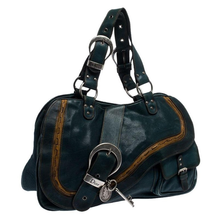 Women's Dior Green Leather Large Gaucho Double Saddle Shoulder Bag For Sale