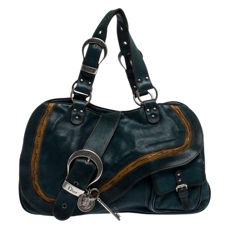 Dior Green Leather Large Gaucho Double Saddle Shoulder Bag For Sale