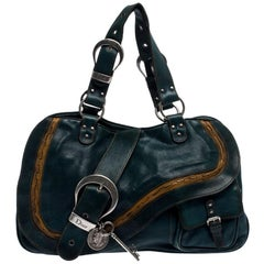 Dior Green Leather Large Gaucho Double Saddle Shoulder Bag