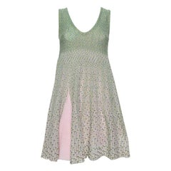 Dior Green & Pink Lurex Knit Flared Tent Dress S