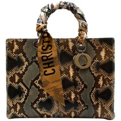 Dior Green Python Large Lady Dior Bag with Two Silk Twilly - Large