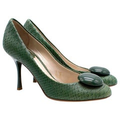 Dior Green Snakeskin Pumps 36.5