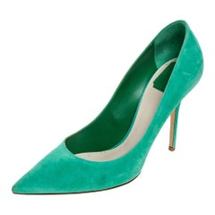 Dior Green Suede Pointed Toe Pumps Size 41