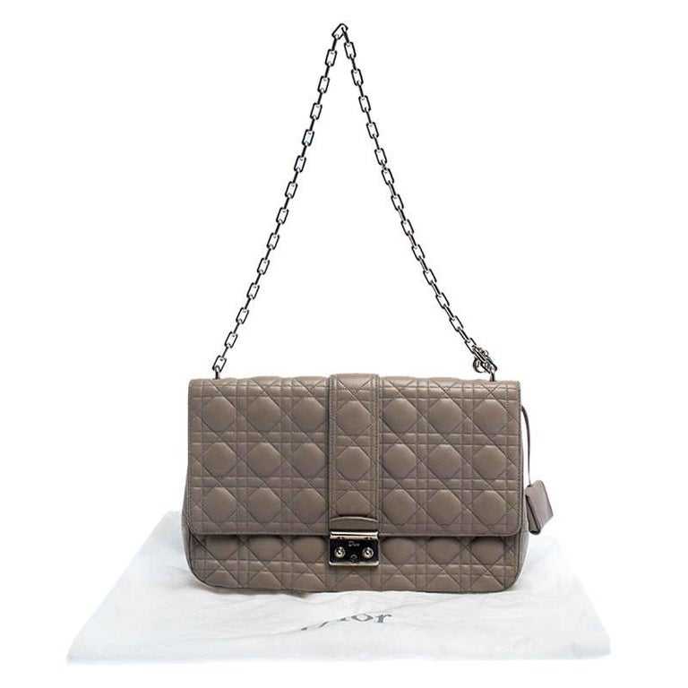 Dior Grey Cannage Leather Large Miss Dior Flap Bag For Sale 7