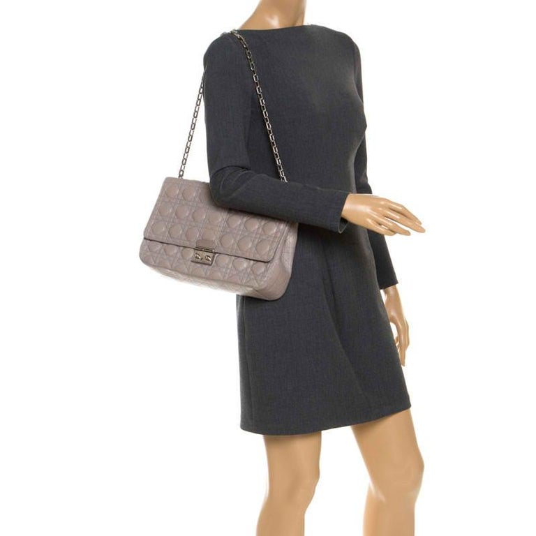 Dior Grey Cannage Leather Large Miss Dior Flap Bag In Good Condition For Sale In Dubai, Al Qouz 2