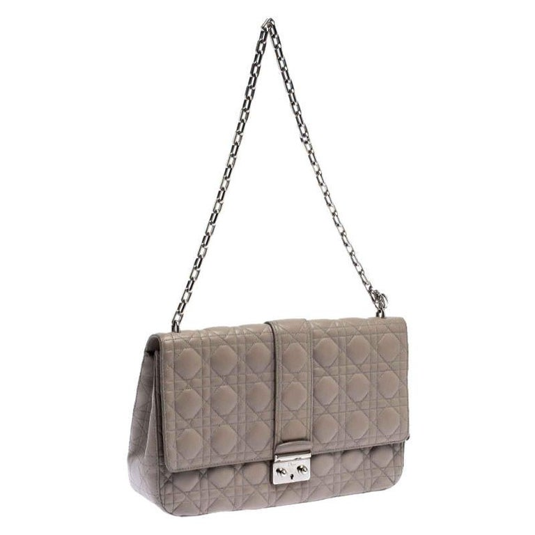 Women's Dior Grey Cannage Leather Large Miss Dior Flap Bag For Sale