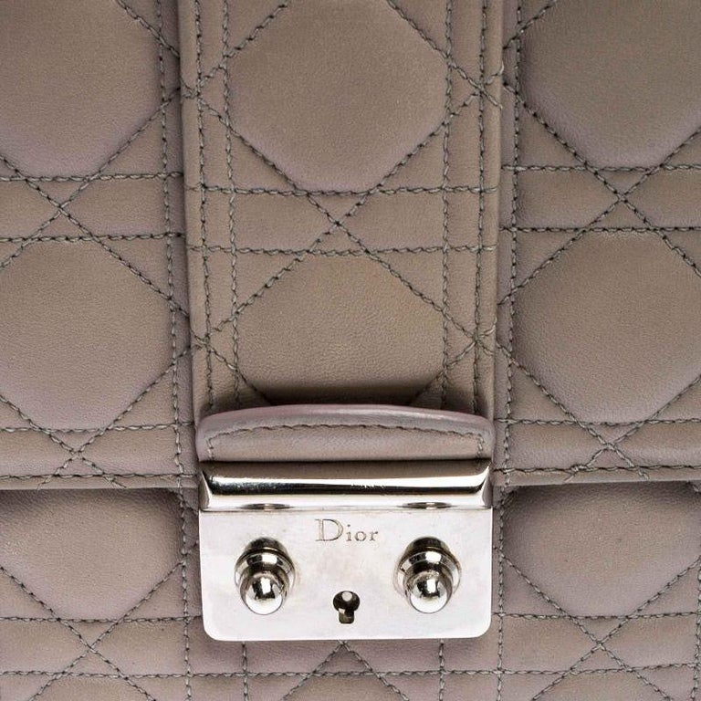 Dior Grey Cannage Leather Large Miss Dior Flap Bag For Sale 3